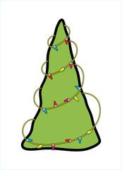 Decorative Lights Christmas Tree Graphic
