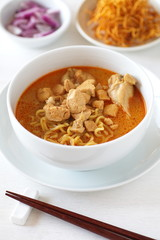 hot and spicy Curry Noodle with chicken and vegetable