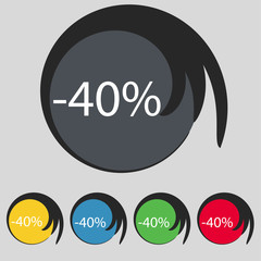40 percent discount sign icon. Sale symbol. Special offer label