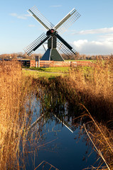Old spider head mill in the Netherlands, called the Terpens mill
