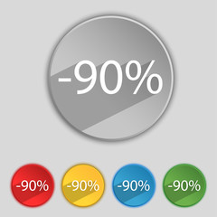 90 percent discount sign icon. Sale symbol. Special offer label