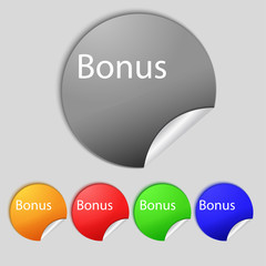 Bonus sign icon. Special offer label. Set of colored buttons.