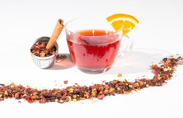 Fruit Tea With Tea Egg, Cinnamon And A Slice Of Orange
