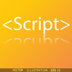 Script icon symbol Flat modern web design with reflection and