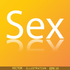 sex icon symbol Flat modern web design with reflection and space