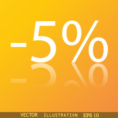 5 percent discount icon symbol Flat modern web design with