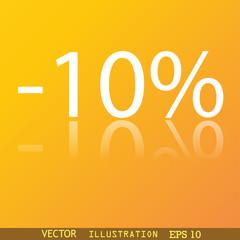 10 percent discount icon symbol Flat modern web design with