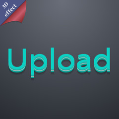 Upload icon symbol. 3D style. Trendy, modern design with space