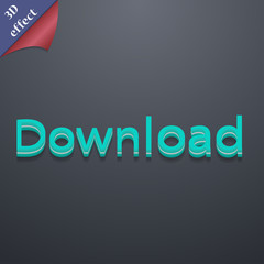 Download now icon symbol. 3D style. Trendy, modern design with