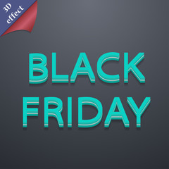 Black friday icon symbol. 3D style. Trendy, modern design with
