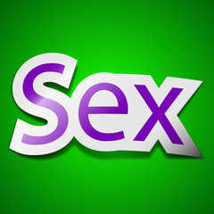 sex icon sign. Symbol chic colored sticky label on green