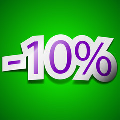 10 percent discount icon sign. Symbol chic colored sticky label