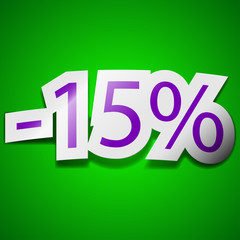 15 percent discount icon sign. Symbol chic colored sticky label