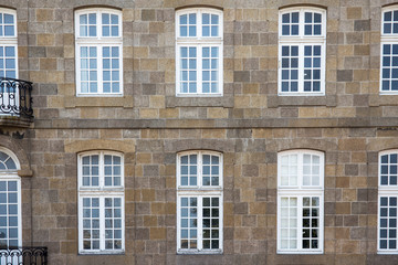 typical facade walls st malo houses, Brittany,  France, Europe