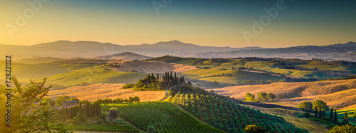 Tuscany landscape panorama at sunrise, Val d'Orcia, Italy - 72822022