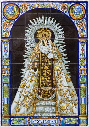 Seville - ceramic tiled Madonna (Nostra Senora del Carmen)