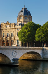 Paris Commercial Court monument and Pont au Change by the River