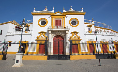 Seville - The facade on Plaza del Toros in baroque style.