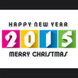 creative colorful new year 2015 greeting paper cut design vector