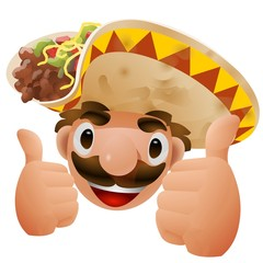 Tacos man thumbs up illustration