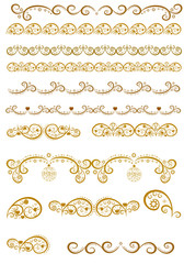 Set of borders with Christmas golden elements