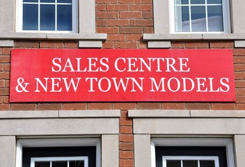 Sales centre and new town models sign