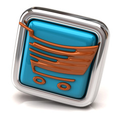 Brown shopping cart on blue button
