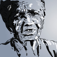 twarz starej kobiety