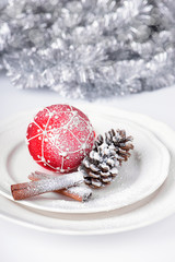 Christmas decoration in silver and red