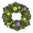 Funny vector cartoon colorfull Christmas wreath. Vector illustra