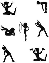 ladies exercising in silhouette