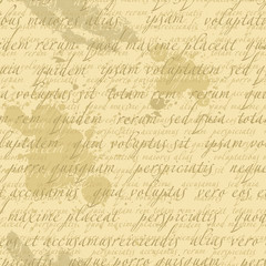 Seamless background with text and blotches in retro style