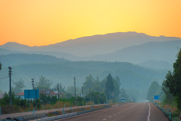 Morning view of the road and the mountains