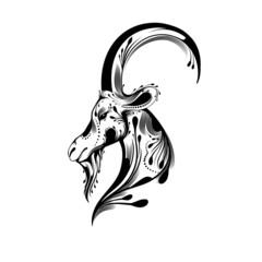 Tribal goat head tattoo
