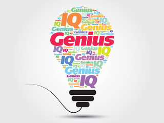 Genius info-text graphics bulb concept, word cloud