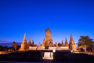 Ayutthaya at wat Chaiwatthanaram twilight.