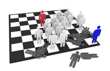 Two abstract men teams fight on a chessboard