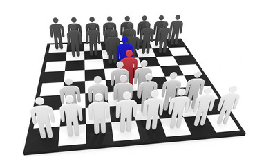 Two abstract men teams stand on a chessboard before each other