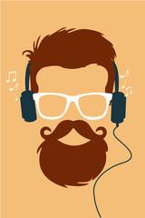 Hipster vector escuchando musica en cascos