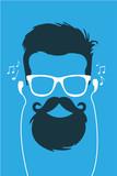 Fototapety Hipster escuchando musica en cascos vector