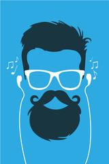 Hipster escuchando musica en cascos vector