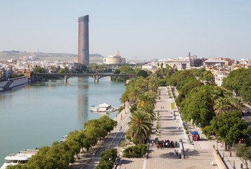 Seville - The outlook from Torre del Oro to promenade