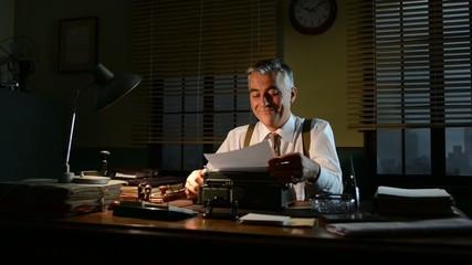 Vintage smiling businessman turning off desk lamp and leaving of