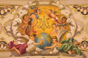 Seville - The fresco angels in church Basilica de la Macarena