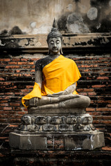 The ancient Buddha, at wat-yaichaimongkol ayutthaya, Thailand