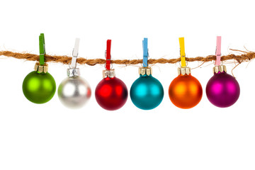 Christmas bauble collection hang on rope, isolated on white back