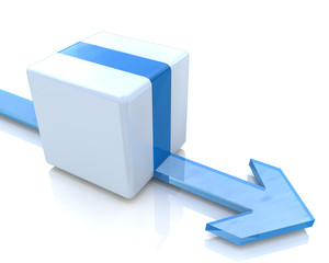 3D blue cube with an arrow pointing the direction. Concept illus