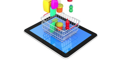 Shopping Basket with Digital Tablet