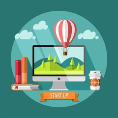 Flat design concept of new business project start up