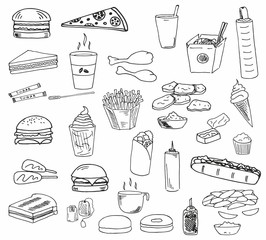 The great fast food line art ink drawn set